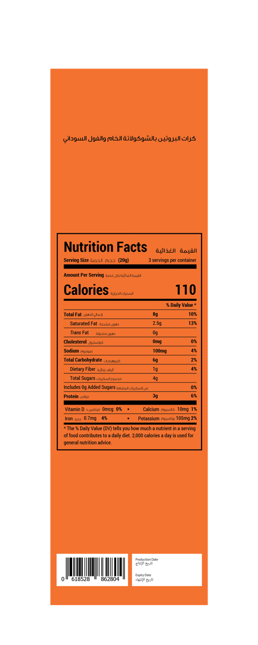 Peanut Butter Protein Ball Nutrition Table